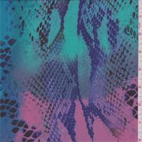 Aqua/Green/Pink Snakeskin Print Chiffon