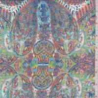 Turquoise Multi Paisley Print Chiffon