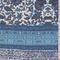 Aqua/Ivory Stylized Stripe Print Chiffon