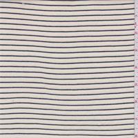 Ecru/Black Pinstripe Rayon Jersey Knit