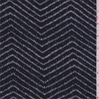 Dark Navy/White Chevron Print Rayon Jersey Knit