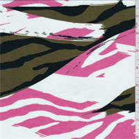 White/Olive/Pink Abstract Print Rayon Jersey Knit