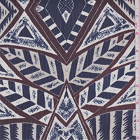 *3 5/8 YD PC--Navy/Beige Tribal Diamond Crepe de Chine
