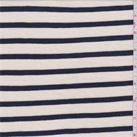 *2 5/8 YD PC--Cream/Navy Stripe Cotton Jersey Knit