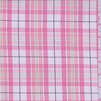 *2 1/2 YD PC--White/Coral Plaid Cotton Shirting