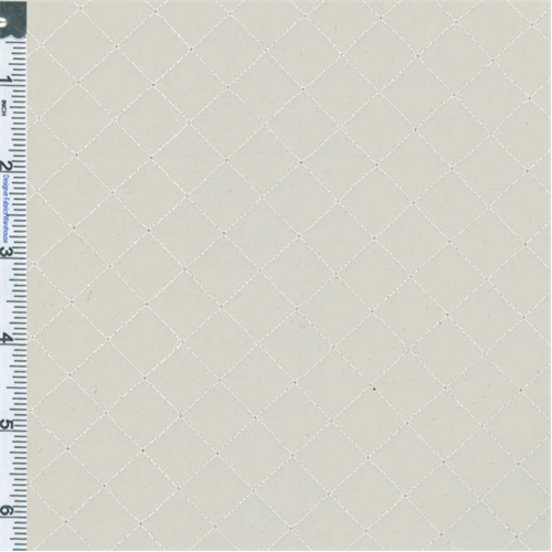 2 Yd Pc Puffy Off White Quilted Diamond Vinyl Upholstery Fabric