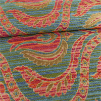 *2 1/2 YD PC - Blue/Coral Red Floral Chenille Boucle Home Decorating Fabric