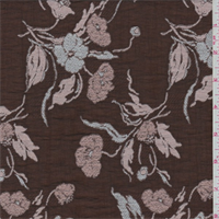 *2 3/4 YD PC--Copper Brown Embroidered Floral Organdy