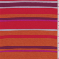 Orange/Magenta Stripe Tencel Jersey Knit