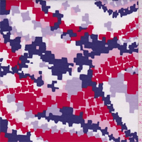 Purple/Red Pixelated Print Tencel Jersey Knit