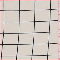 Ecru/Black Window Pane Check Tencel Jersey Knit