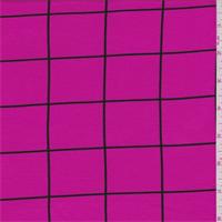 Hot Pink/Black Window Pane Check Tencel Jersey Knit