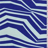 Royal/Seafoam Zig Zag Print Tencel Jersey Knit