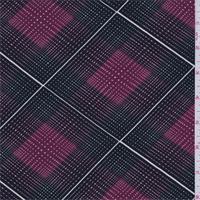 Black/Maroon Diamond Check Print Tencel Jersey Knit