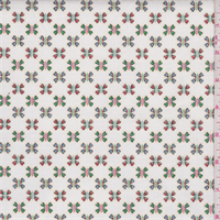 White Multi Clover Stretch Twill