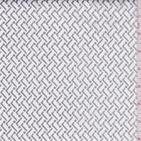 White/Silver Foil Print Stretch Twill