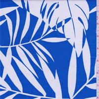 Royal/White Tropical Print Cotton Shirting