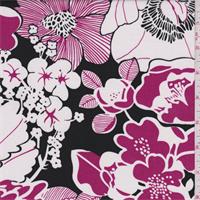 Black/Fuchsia/White Floral Print Cotton Shirting