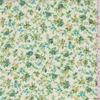 Off White/Yellow/Green Mini Floral Print Chiffon
