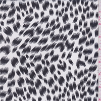 White/Slate Brushstroke Animal Print Chiffon