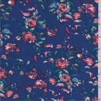 *1 YD PC--Sapphire Multi Floral Herringbone Rayon Challis