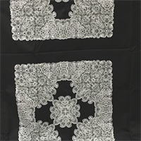 *4 PANELS--Black Sateen with White/Grey Pattern