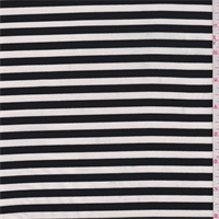 *2 3/4 YD PC--White/Smoke Black Stripe Jersey Knit