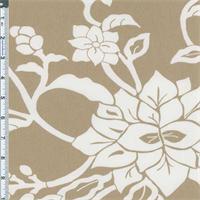 *3 1/4 YD PC--Tan Crewel Floral Print Decor Cotton Twill
