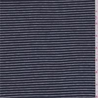 *2 YD PC--Navy/Heather Grey Stripe Rib Jersey Knit
