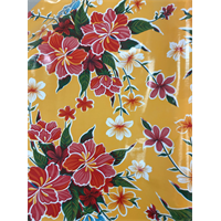 *5/8 YD PC--Yellow Hibiscus Oilcloth