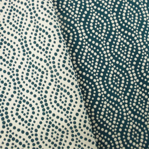 Indigo Ivory Dot Ogee Jacquard Home Decorating Fabric