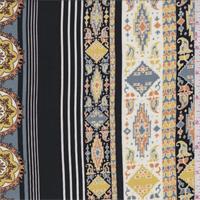 *2 3/4 YD PC--Black/Clay Decorative Stripe Rayon Challis