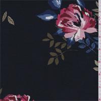 Black Multi Floral Print Rayon Jersey Knit