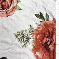Ivory/Orange Floral Print Rayon Jersey Knit