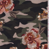 Green/Tan/Peach Floral Camo Pique Knit