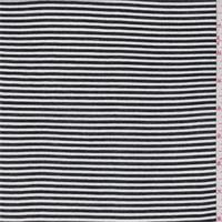 Black/White Pinstripe Rayon Crepe