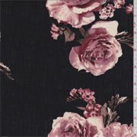 Black/Pink Floral Polyester Crepon
