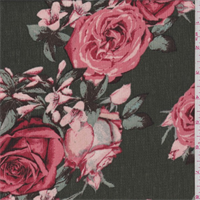 Olive/Coral Floral Polyester Crepon