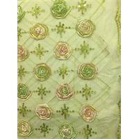 *3 YD PC--Avocado Green Floral Organza Mesh