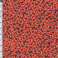 *3 YD PC--Fire Red/Navy Little Floral Designer Rayon Crepe