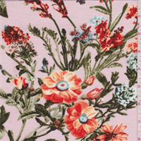Soft Pink Floral Rayon Jersey Knit