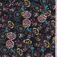 *2 7/8 YD PC--Black Multi Floral Herringbone Rayon Challis