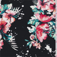 Black Multi Tropical Floral Jersey Knit