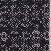 *3 YD PC--Black/Taupe Diamond Rayon Challis