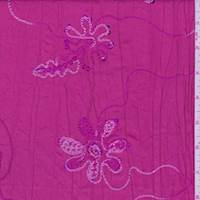 Hot Pink Embroidered Floral Crushed Taffeta