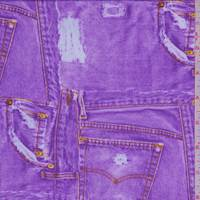 Lilac Purple Jean Print Activewear Knit
