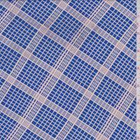 Royal/Beige Grid Print Rayon Crepe