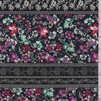 Black Multi Floral Wallpaper Stripe Crepe de Chine