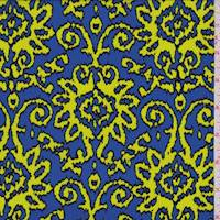 Cool Blue/Lime Baroque Print Crepe de Chine
