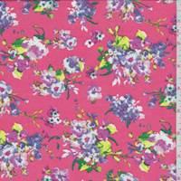 Coral Pink Multi Floral Print Chiffon